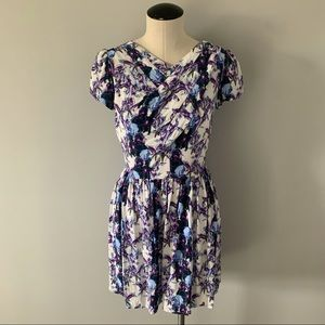 Topshop Floral Crossed Neck Tee Shirt Dress Sz 2